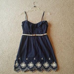 Navy dress with braided belt